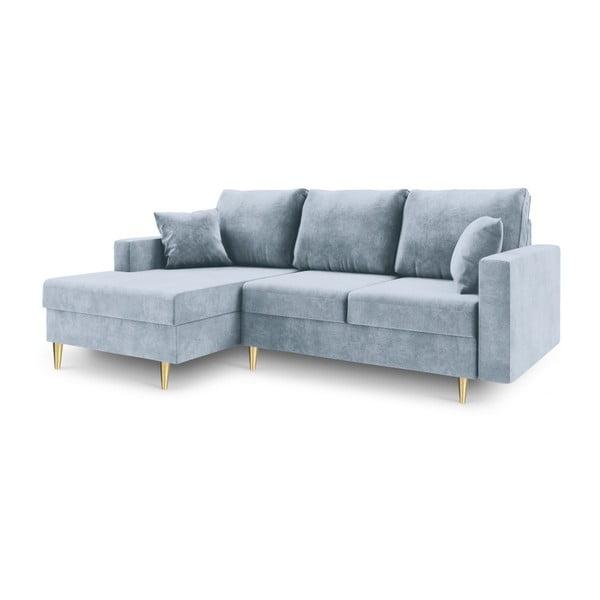 Jasnoniebieska 4-osobowa sofa rozkładana Mazzini Sofas Muguet, lewostronna