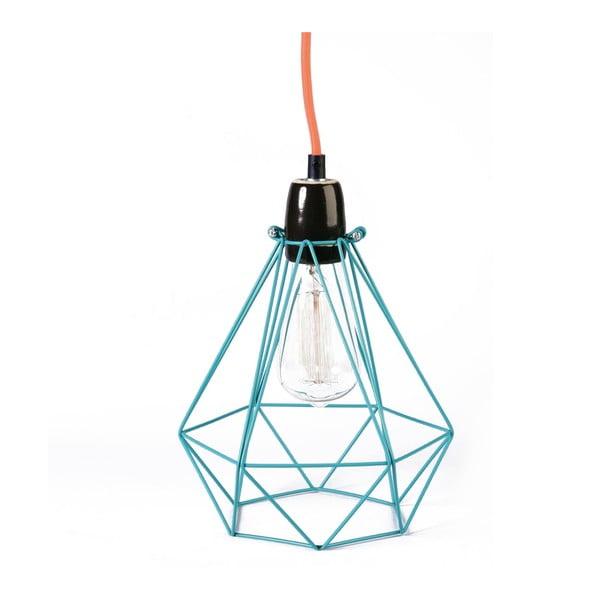Niebieska lampa wisząca z pomarańczowym kablem Filament Style Diamond #1