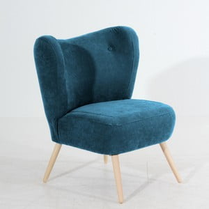 Niebieski fotel Max Winzer Sari Velur