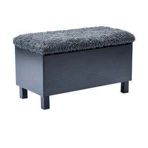 Czarna ławka ze schowkiem RGE Sture, 80 cm