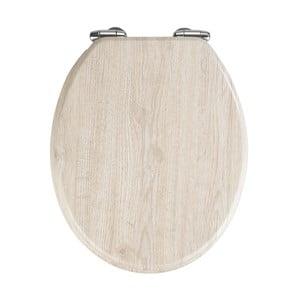 Jasnoszara deska sedesowa z łatwym domknięciem Wenko Oak, 43x37 cm