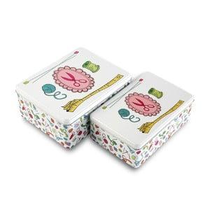 Zestaw 2 pudełek na przybory do szycia White Sewing