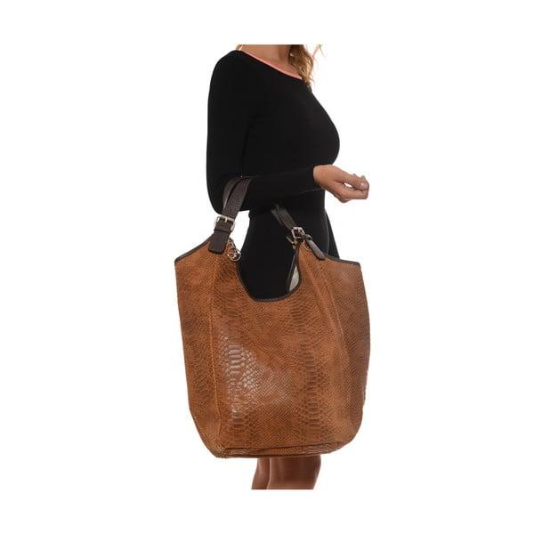 Skórzana torebka Carla Ferreri 887 Cognac