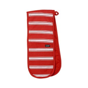 Czerwona podwójna łapka kuchenna Ladelle Butcher Stripe