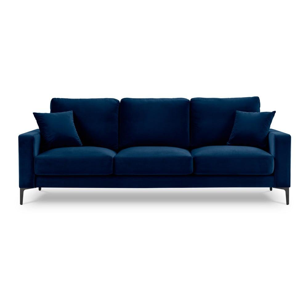 Granatowa aksamitna sofa Kooko Home Harmony, 220 cm