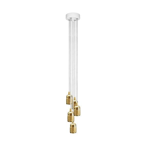 Złoto-biała pięcioramienna lampa wisząca Bulb Attack Uno