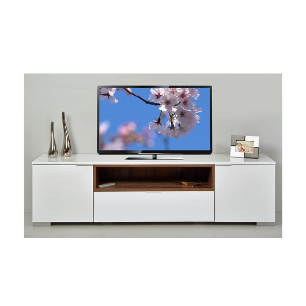 Stolik telewizyjny Grand, biały/orzech