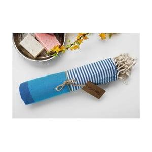 Ręcznik hamam Amerikan Turquoise Blue, 100x180 cm