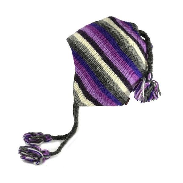 Czapka wełniana z uszami Violet Stripes