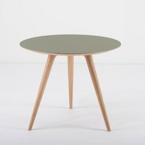 Dębowy stolik z zielonym blatem Gazzda Arp, Ø55cm