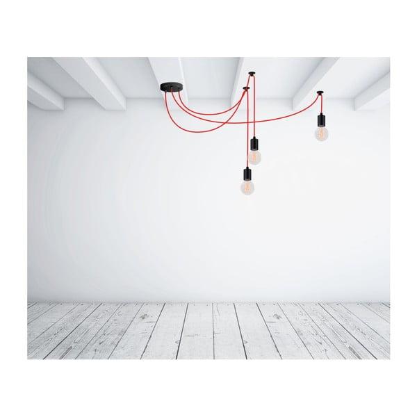 Czerwona lampa wisząca z 3 żarówkami Filament Style Spider