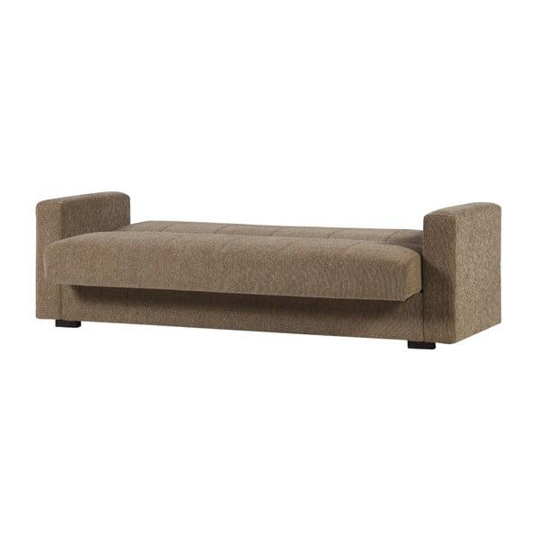 Ciemnobeżowa trzyosobowa sofa rozkładana ze schowkiem Esidra Relax