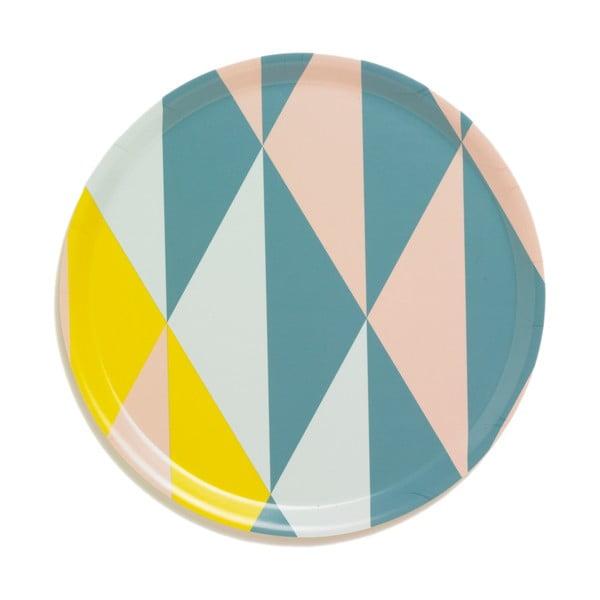 Taca ze wzorem geometrycznym, żółta