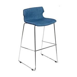 Krzesło barowe D2 Techno, tapicerowane, niebieskie