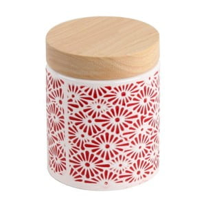 Ceramiczny pojemnik Czerwony ornament, 13x11 cm