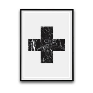 Plakat w drewnianej ramie Big cross, 38x28 cm