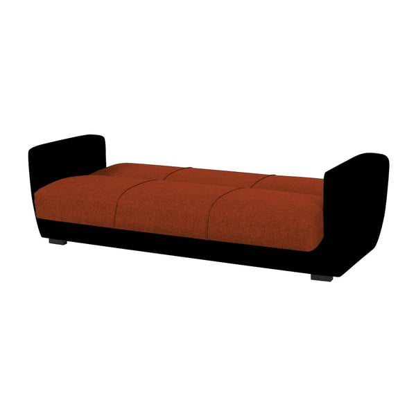 Pomarańczowo-czarna trzyosobowa sofa rozkładana ze schowkiem Esidra Comfort