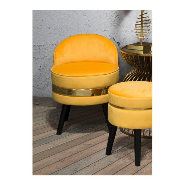 Żółty fotel tapicerowany z niskim oparciem Mauro Ferretti Paris