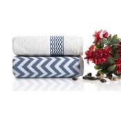 Komplet 2 niebiesko-białych ręczników bawełnianych Ladik Ella, 50x90 cm