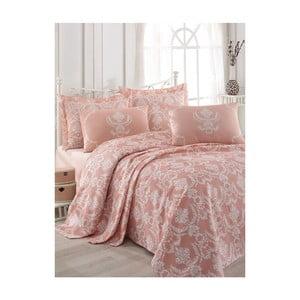 Różowa narzuta na łóżko dwuosobowe z prześcieradłem i poszewkami na poduszki Anna, 200x235 cm
