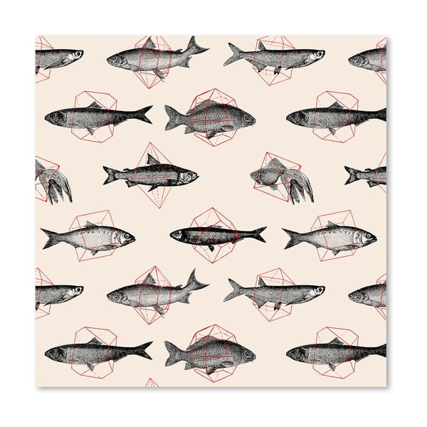 Plakat Fishes In Geometrics, 30x30 cm