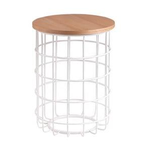 Biały stolik z blatem w dekorze drewna dębowego sømcasa Elmo