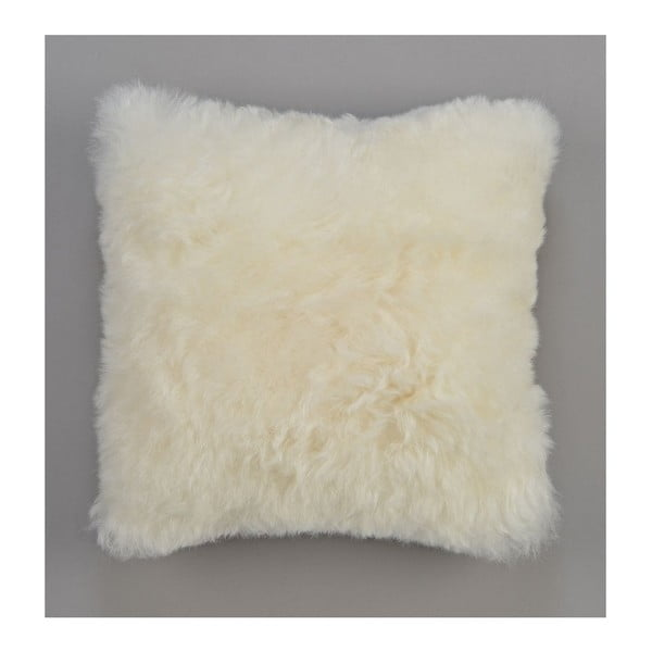 Dwustronna futrzana poduszka z krótkim włosem White, 50x50 cm