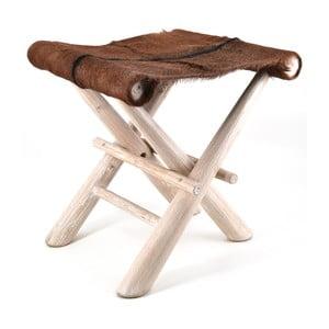 Drewniany stołek ze skórzanym siedziskiem Moycor Goat