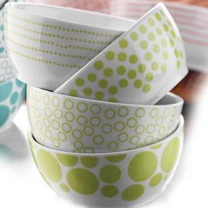 Komplet 4 porcelanowych misek Geometry, zielone