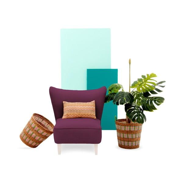 Fioletowy fotel z jasnymi nogami Vivonita Sandy