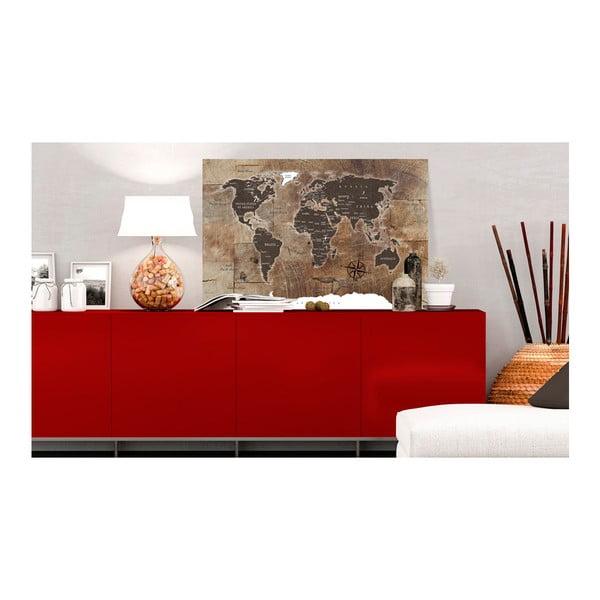 Tablica z mapą świata Bimago Wooden Mosaic 120x80 cm