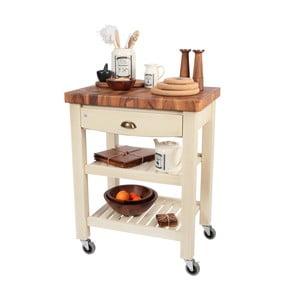 Stolik na kółkach z drewnianym blatem Pembroke