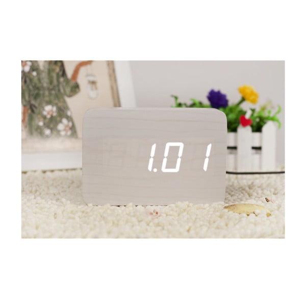 Biały budzik z białym wyświetlaczem LED Gingko Brick Click Clock