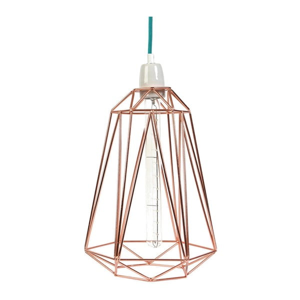 Brazowa lampa wisząca z niebieskim kablem Filament Style Diamond #5
