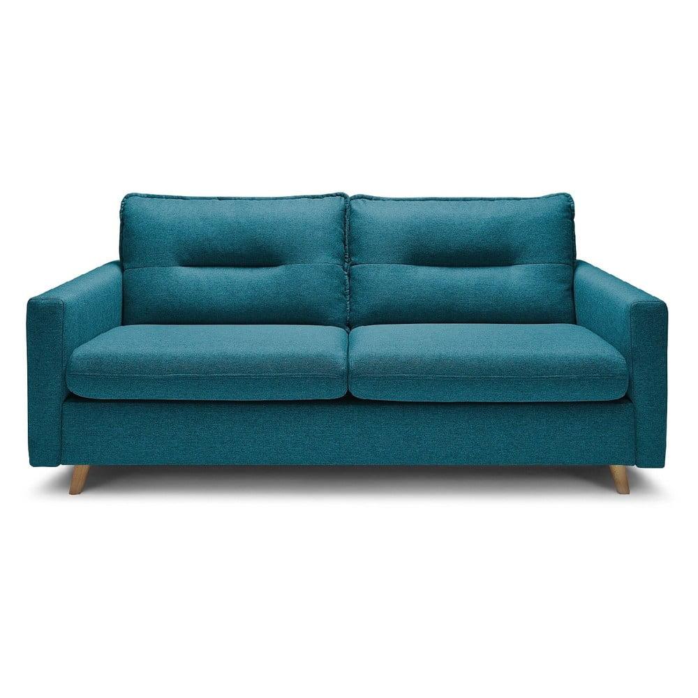 Turkusowa 3-osobowa sofa rozkładana Bobochic Paris Sinki