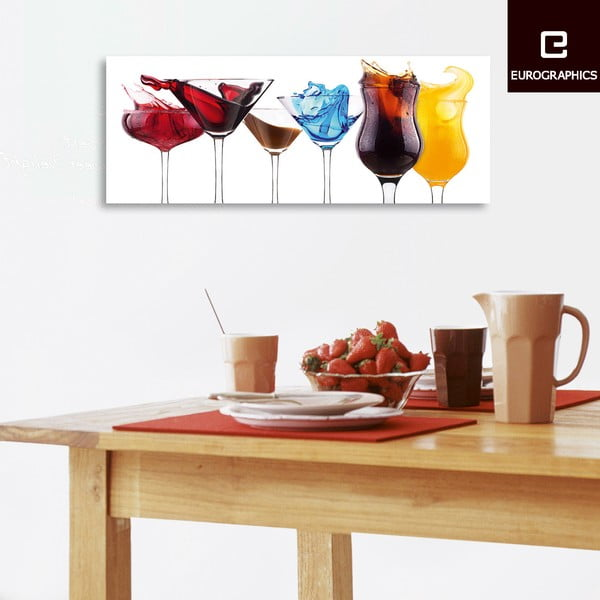 Szklany obraz Splashing Cocktails, 30x80 cm