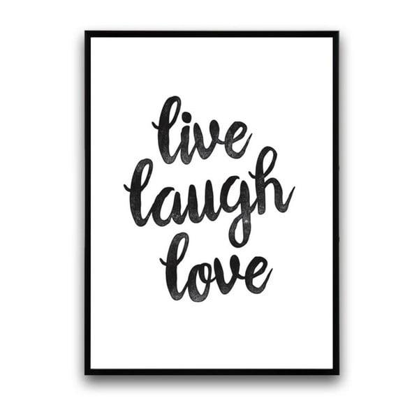 Plakat w drewnianej ramie Live laugh love, 38x28 cm
