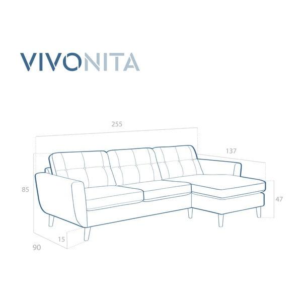 Ciemnoniebieska sofa z szezlongiem po prawej stronie Vivonita Harlem