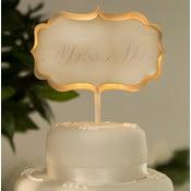 Dekoracja ślubna na tort z lampką LED Cake Cream