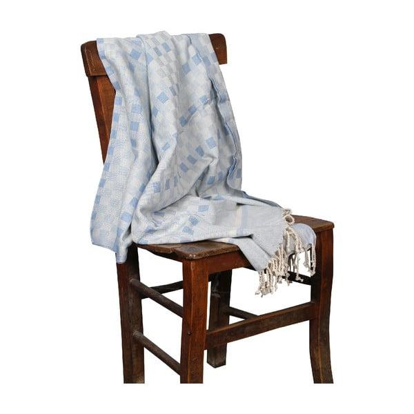 Jasnoniebieski ręcznik hammam Hera Light Blue, 90x190cm