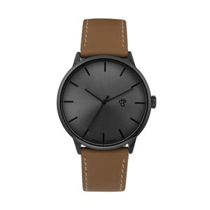 Zegarek z brązowym paskiem i metalicznym cyferblatem CHPO Khorshid