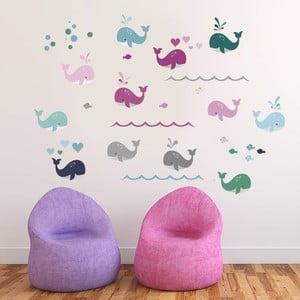 Naklejka dekoracyjna na ścianę Kolorowe wieloryby