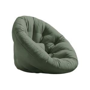 Rozkładany fotel z zielonym obiciem Karup Design Nest Olive Green