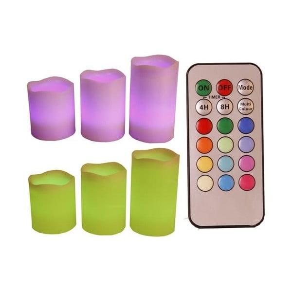 Zestaw 3 kolorowych świeczek LED