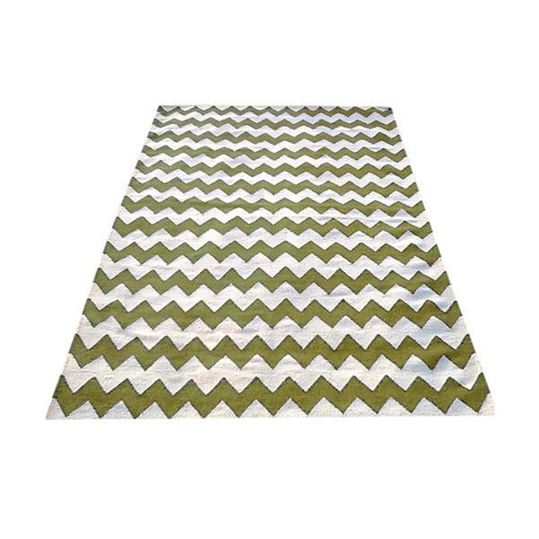 Ręcznie tkany dywan Kilim Design Two Green, 160x230 cm