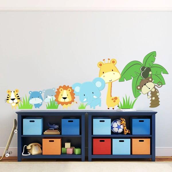 Naklejka na ścianę Zwierzątka i palma, 60x90 cm