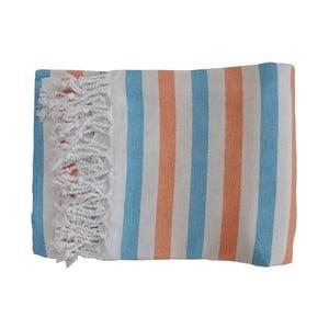 Zielono-pomarańczowy ręcznik kąpielowy tkany ręcznie z wysokiej jakości bawełny Homemania Afrika Hammam,100x180 cm