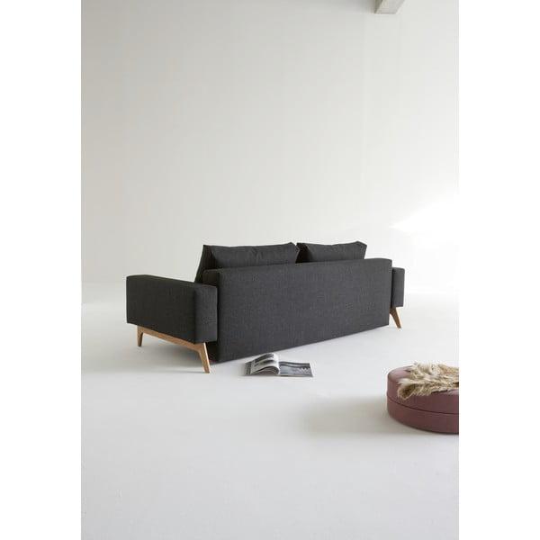Czarna sofa rozkładana z podłokietnikami Innovation Idun
