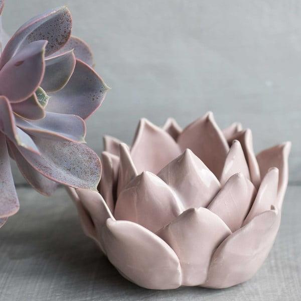 Ceramiczny świecznik Lotos, różowy