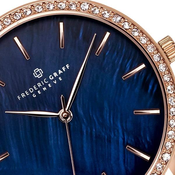 Damski zegarek z bordowym paskiem ze skóry naturalnej Frederic Graff Lismo